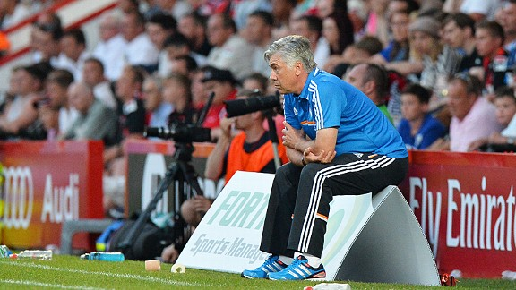 Carlo Ancelotti in his first game as Real Madrid manager at Bournemouth
