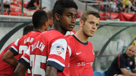 Arsenal's Gedion Zelalem and Jack Wilshere against Nagoya Grampus.