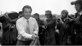 Brian Clough arrives at Elland Road for the first time to begin his doomed spell with Leeds.
