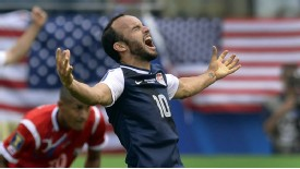Landon Donovan celebrates after victory over Panama.