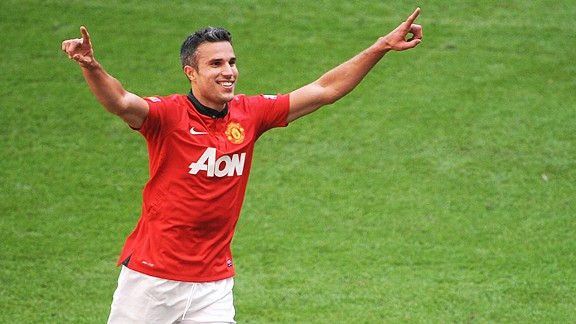 Robin van Persie celebrates after doubling Manchester United's advantage at Wembley