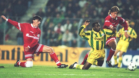 Claude Makelele in Champions League action for Nantes.