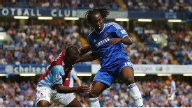 Romelu Lukaku battles for the ball in Chelsea's 2-1 win over Aston Villa.