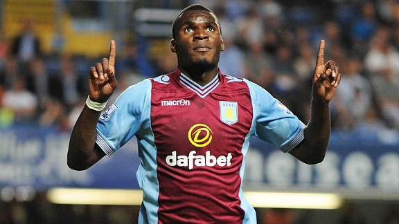 Christian Benteke celebrates after levelling at Chelsea