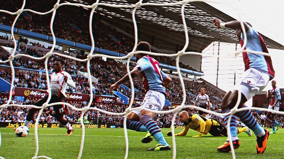 Liverpool's Daniel Sturridge rounds goalkeeper Brad Guzan to score the opening goal against Aston Villa.