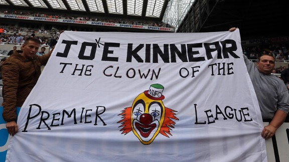Newcastle Joe Kinnear fan banner sign clown