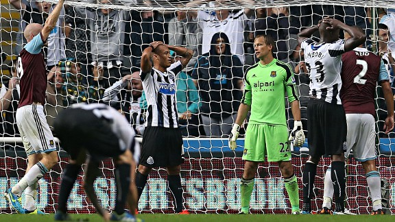 Newcastle United's Yoan Gouffran reacts after a missed oppertunity.