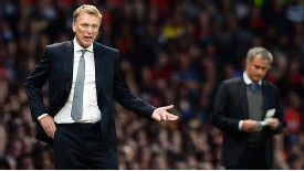 David Moyes barks out the instructions as Jose Mourinho looks on