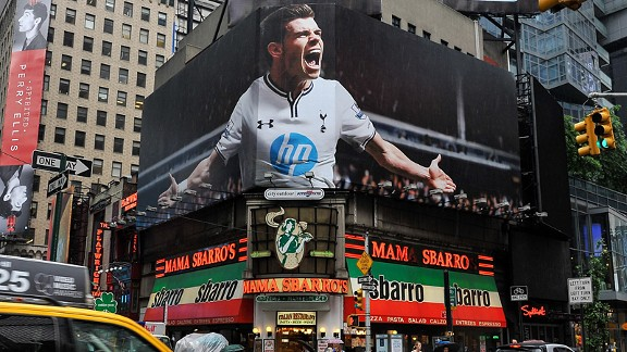 Gareth Bale's image adorns a billboard in Times Square, New York.