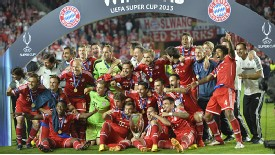 Bayern Munich celebrate their UEFA Super Cup triumph