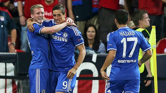Chelsea celebrate Fernando Torres' goal against Bayern Munich.