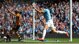 Alvaro Negredo celebrates after scoring for Man City against Hull.