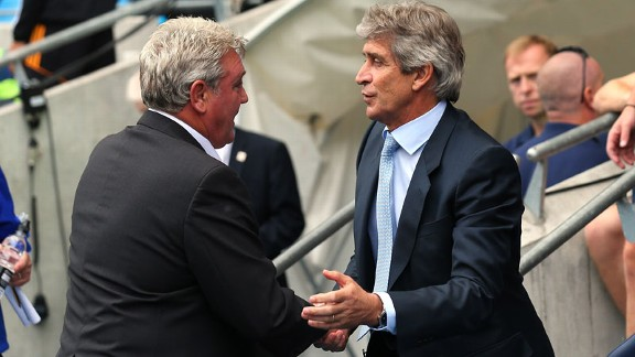 Steve Bruce and Manuel Pellegrini Man City v Hull City
