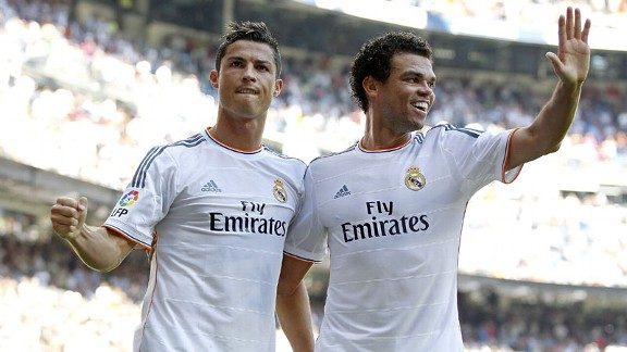 Cristiano Ronaldo celebrates his goal against Bilbao alongside Pepe.