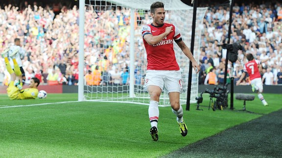 Olivier Giroud celebrates his goal against Tottenham.