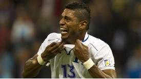 Carlos Costly celebrates his goal as Honduras secured a shock win away in Mexico.