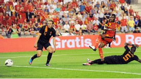 Christian Benteke finds the back of the net in Belgium's 4-2 win over Netherlands last year.