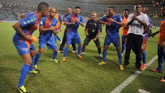 Cape Verde celebrate after their qualification against Tunisia.