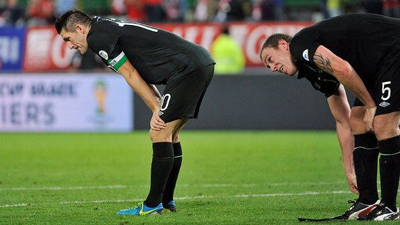 Republic of Ireland's Robbie Keane and Richard Dunne taste defeat against Austria.
