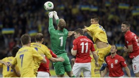 Joe Hart punch England vs Ukraine
