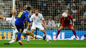 Yevhen Konoplyanka scores against England at Wembley.