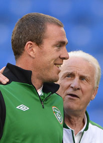 Giovanni Trapattoni and Richard Dunne Ireland