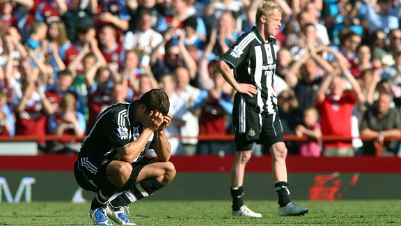 Newcastle United were relegated at Villa Park in 2009.
