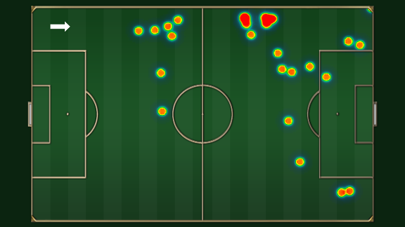 A heat map of Adnan Januzaj's touches against Crystal Palace.