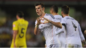 Gareth Bale celebrates after netting on his debut, but Madrid were unable to secure the victory.