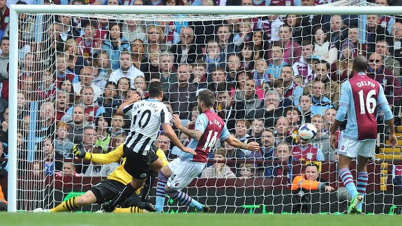 Hatem Ben Arfa puts Newcastle ahead against Villa.