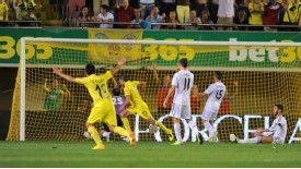 Villarreal celebrate after taking the lead through Cani, who has been at the club since 2006.