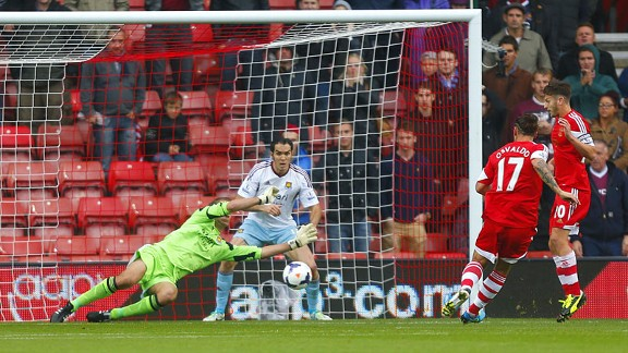 Jussi Jaaskelainen saves from Osvaldo Southampton v West ham