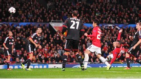 Robin van Persie acrobatically fires Manchester United back into the lead.
