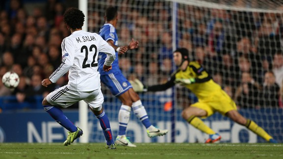 Mohamed Salah scores Basel's first goal against Chelsea.