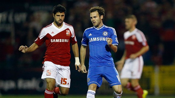 Juan Mata was called upon for the Capital One Cup match against Swindon Town.