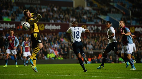 Jermain Defoe puts Tottenham into the lead at Villa Park.