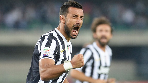 Fabio Quagliarella celebrates after scoring Juventus' leveller at Chievo.