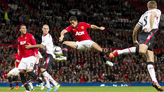 Javier Hernandez fires home Man United's winner against Liverpool.