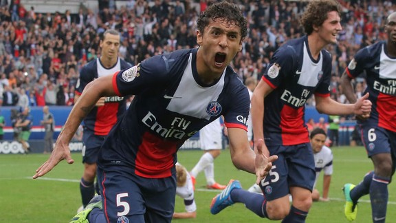 Marquinhos opened the scoring for PSG against Toulouse.
