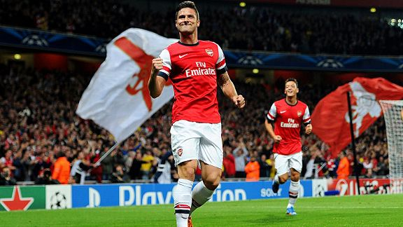 Joy for Olivier Giroud after he doubled Arsenal's lead against Napoli.
