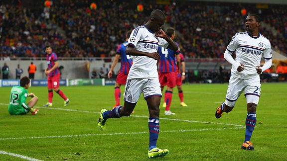 Ramires celebrates after putting Chelsea in front in Romania.