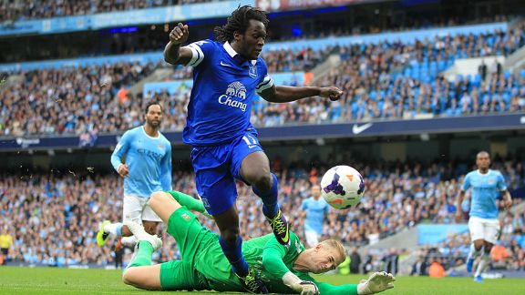 Romelu Lukaku scores for Everton at Man City.