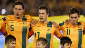 Matt McKay (centre) believes the A-League will help him make Australia's World Cup squad.