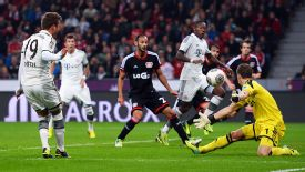 Leverkusen goalkeeper Bernd Leno keeps Bayern at bay during the weekend's 1-1 draw.