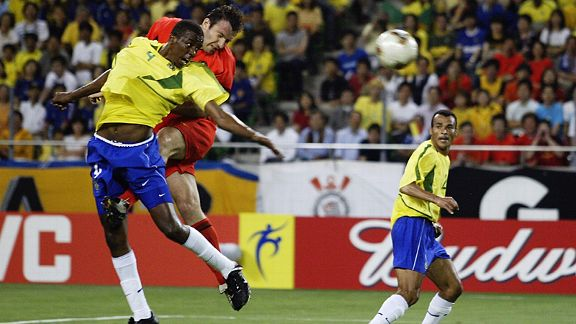 Marc Wilmots scores Belgium's goal that never was against Brazil.