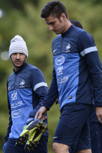 KArim Benzema and Olivier Giroud France training