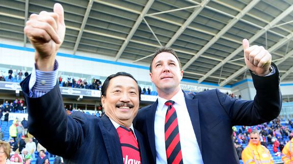 Cardiff owner Vincent Tan and manager Malky Mackay