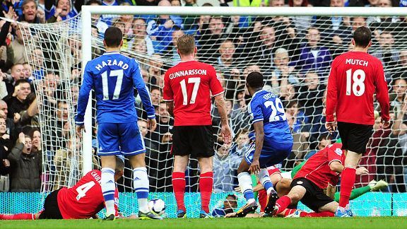 Samuel Eto'o fires Chelsea in front at home to Cardiff.