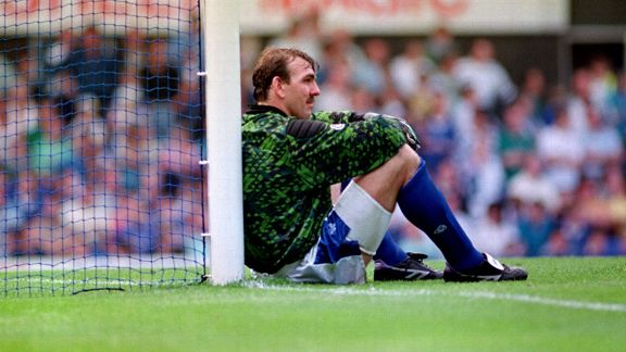 Neville Southall sits by the post Everton