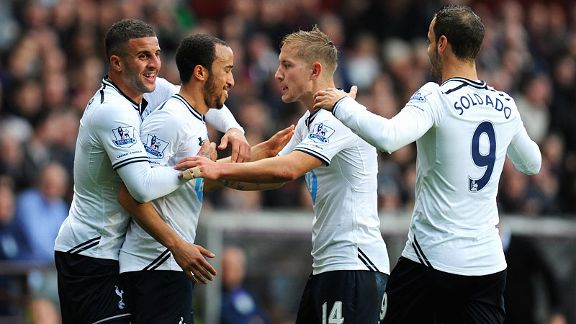 Andros Townsend is mobbed after his cross inadvertently gave Spurs the lead at Aston Villa.